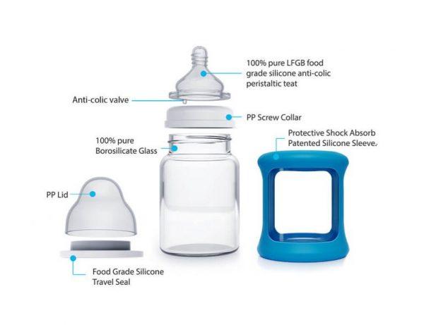 Colour Change Glass Bottles Wide Neck 150ml Single Pack – Blue