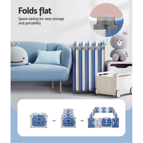 Baby Playpen Interactive Safety Gate Play Pen Child Toddler Fence 19 Panels Grey