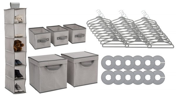 48 Piece Nursery Storage Set - Cool Grey