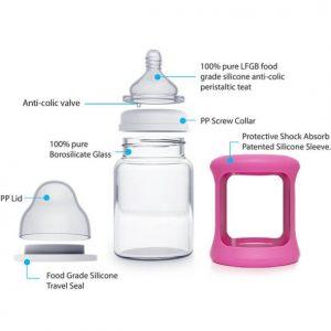 Colour Change Glass Bottles Wide Neck 150ml Single Pack – Pink