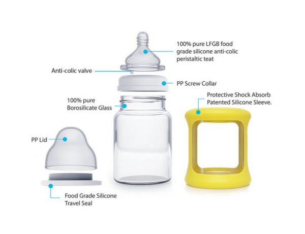 Colour Change Glass Bottles Wide Neck 150ml Single Pack – Yellow