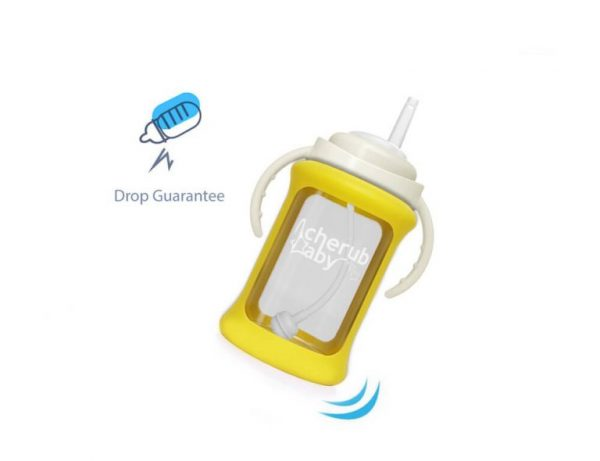 Wide Neck Glass Straw Cup with Colour Change Sleeve 240ml – Yellow