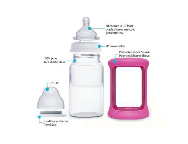Colour Change Glass Bottles Wide Neck 240ml Single Pack – Pink