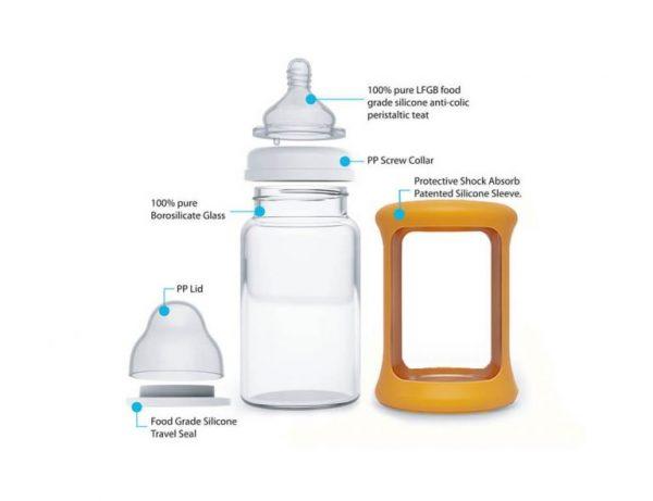 Colour Change Glass Bottles Wide Neck 240ml Single Pack – Orange