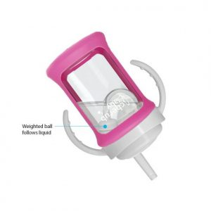 Wide Neck Glass Straw Cup with Colour Change Sleeve 240ml – Pink